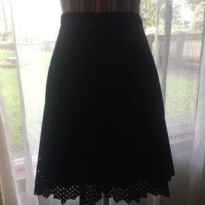 J Crew Pleated Black Skirt